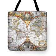 Hondius World Map, 1630 Tote Bag by Photo Researchers