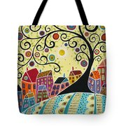Houses And A Swirl Tree Tote Bag by Karla Gerard
