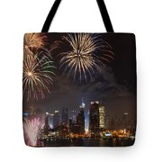 Hudson River Fireworks Iv Tote Bag by Clarence Holmes