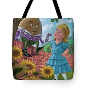 humpty dumpty on wall with alice Tote Bag by Martin Davey