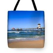 Huntington Beach Pier In Orange County California Tote Bag by Paul Velgos