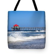 Huntington Beach Pier Photo Tote Bag by Paul Velgos