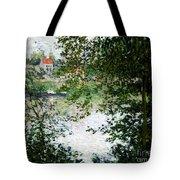 Ile De La Grande Jatte Through The Trees Tote Bag by Claude Monet