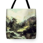 In The Teton Range Tote Bag by Thomas Moran