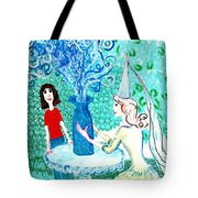 In The White Lady's Cave Tote Bag by Sushila Burgess