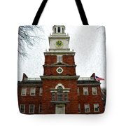 Independence Hall In Philadelphia Tote Bag by Bill Cannon