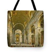 Interior of St. Peter's - Rome Tote Bag by Giovanni Paolo Panini