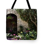 Italian Front Door Adorned With Flowers Tote Bag by Marilyn Hunt