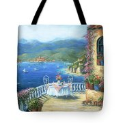 Italian Lunch On The Terrace Tote Bag by Marilyn Dunlap