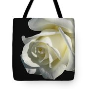 Ivory Rose Flower On Black Tote Bag by Jennie Marie Schell