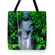 Japanese House Monk Statue Tote Bag by Bill Cannon