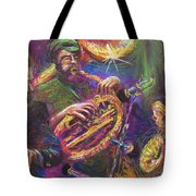 Jazz Jazzband Trio Tote Bag by Yuriy  Shevchuk
