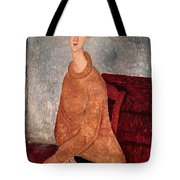 Jeanne Hebuterne In A Yellow Jumper Tote Bag by Amedeo Modigliani
