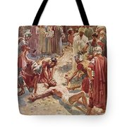 Jesus being crucified Tote Bag by William Brassey Hole