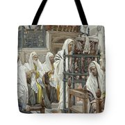 Jesus Unrolls The Book In The Synagogue Tote Bag by Tissot