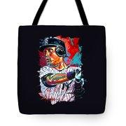Jeter At Bat Tote Bag by Maria Arango