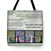 Jewish Seven Wedding Blessings Tree Of Life Hamsas Tote Bag by Sandra Silberzweig