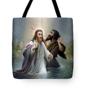 John The Baptist Baptizes Jesus Christ Tote Bag by War Is Hell Store