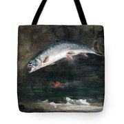 Jumping Trout Tote Bag by Winslow Homer