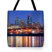 Kansas City Missouri Skyline At Night Tote Bag by Jon Holiday