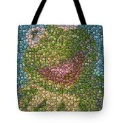 Kermit Mt. Dew Bottle Cap Mosaic Tote Bag by Paul Van Scott