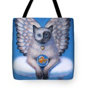 Kitty Yin Yang- Cat Angel Tote Bag by Sue Halstenberg