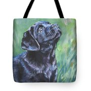 Labrador Retriever Pup And Dragonfly Tote Bag by Lee Ann Shepard