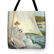Ladies In A Sailing Boat  Tote Bag by Jules Cayron