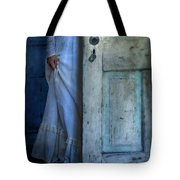 Lady In Vintage Clothing Hiding Behind Old Door Tote Bag by Jill Battaglia