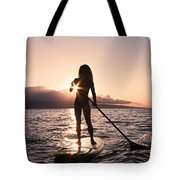 Lady Paddling Tote Bag by Dave Fleetham - Printscapes
