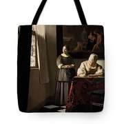 Lady Writing A Letter With Her Maid Tote Bag by Jan Vermeer