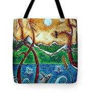 Land Of The Free Original Madart Painting Tote Bag by Megan Duncanson