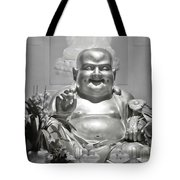 Laughing Buddha - A Symbol Of Joy And Wealth Tote Bag by Christine Till