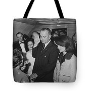 Lbj Taking The Oath On Air Force One Tote Bag by War Is Hell Store