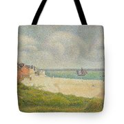 Le Crotoy Looking Upstream Tote Bag by Georges Pierre Seurat