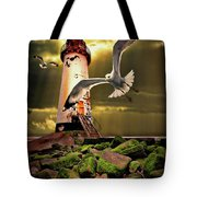 Lighthouse With Seagulls Tote Bag by Meirion Matthias