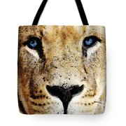 Lion Art - Blue Eyed King Tote Bag by Sharon Cummings