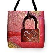 Lock/heart Tote Bag by Julie Gebhardt