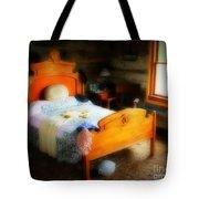 Log Cabin Bedroom Tote Bag by Perry Webster