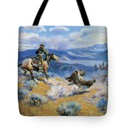 Loops And Swift Horses Are Surer Than Lead Tote Bag by Charles Russell