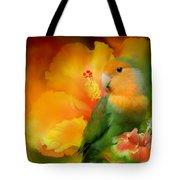 Love Among The Hibiscus Tote Bag by Carol Cavalaris