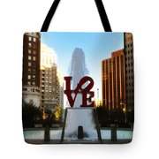 Love Park - Love Conquers All Tote Bag by Bill Cannon