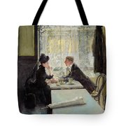 Lovers In A Cafe Tote Bag by Gotthardt Johann Kuehl