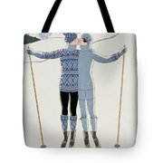 Lovers in the Snow Tote Bag by Georges Barbier