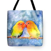 Lovey Dovey Lovebirds Tote Bag by Arline Wagner