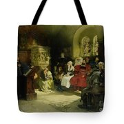 Luther Preaches using his Bible Translation while Imprisoned at Wartburg Tote Bag by Hugo Vogel
