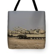 M1 Abrams Tanks At Camp Warhorse Tote Bag by Terry Moore