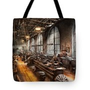 Machinist - A Room Full Of Lathes  Tote Bag by Mike Savad