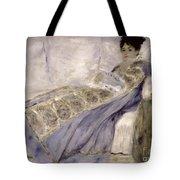 Madame Monet On A Sofa Tote Bag by Pierre Auguste Renoir