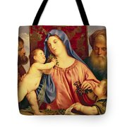 Madonna Of The Cherries With Joseph Tote Bag by Titian